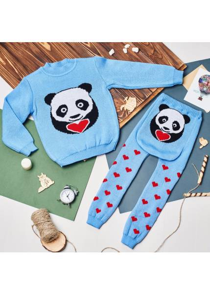 Свитер Литл панда, голубой