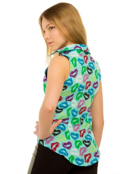 Блуза Губки, бирюзовый