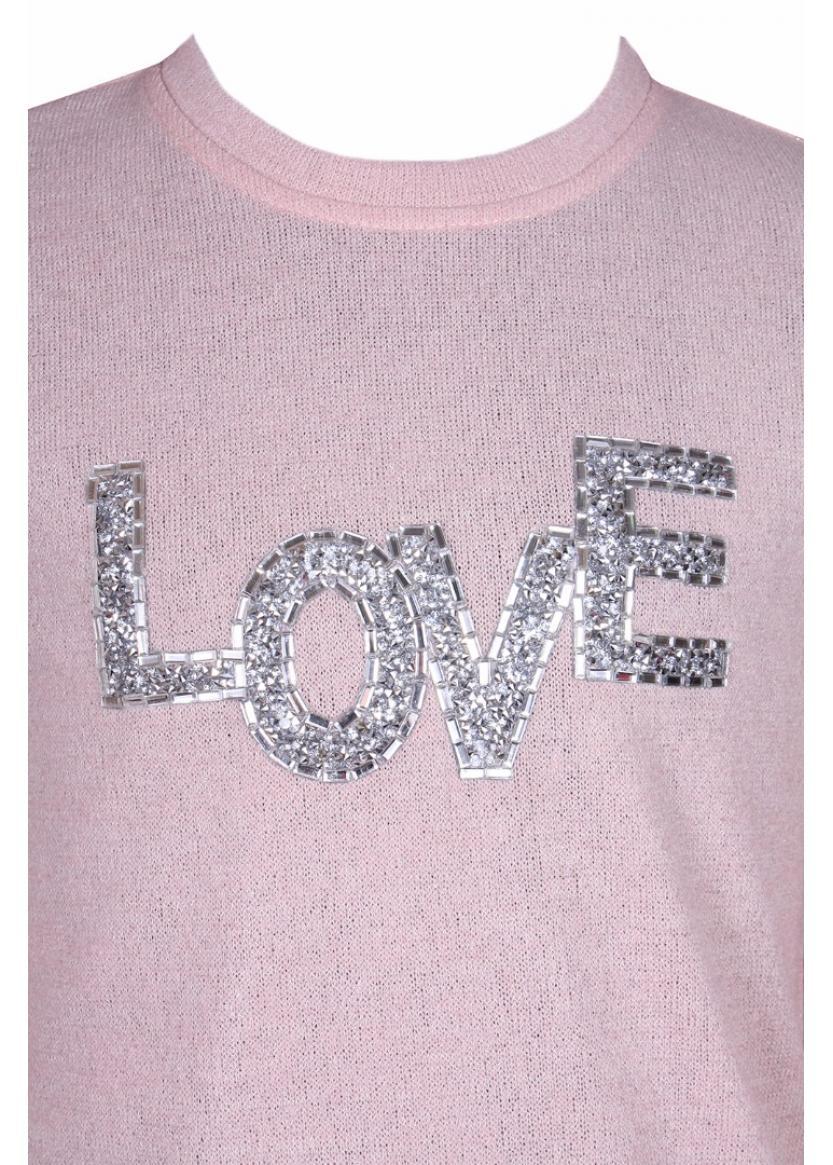 Лонгслив Love, пудровый
