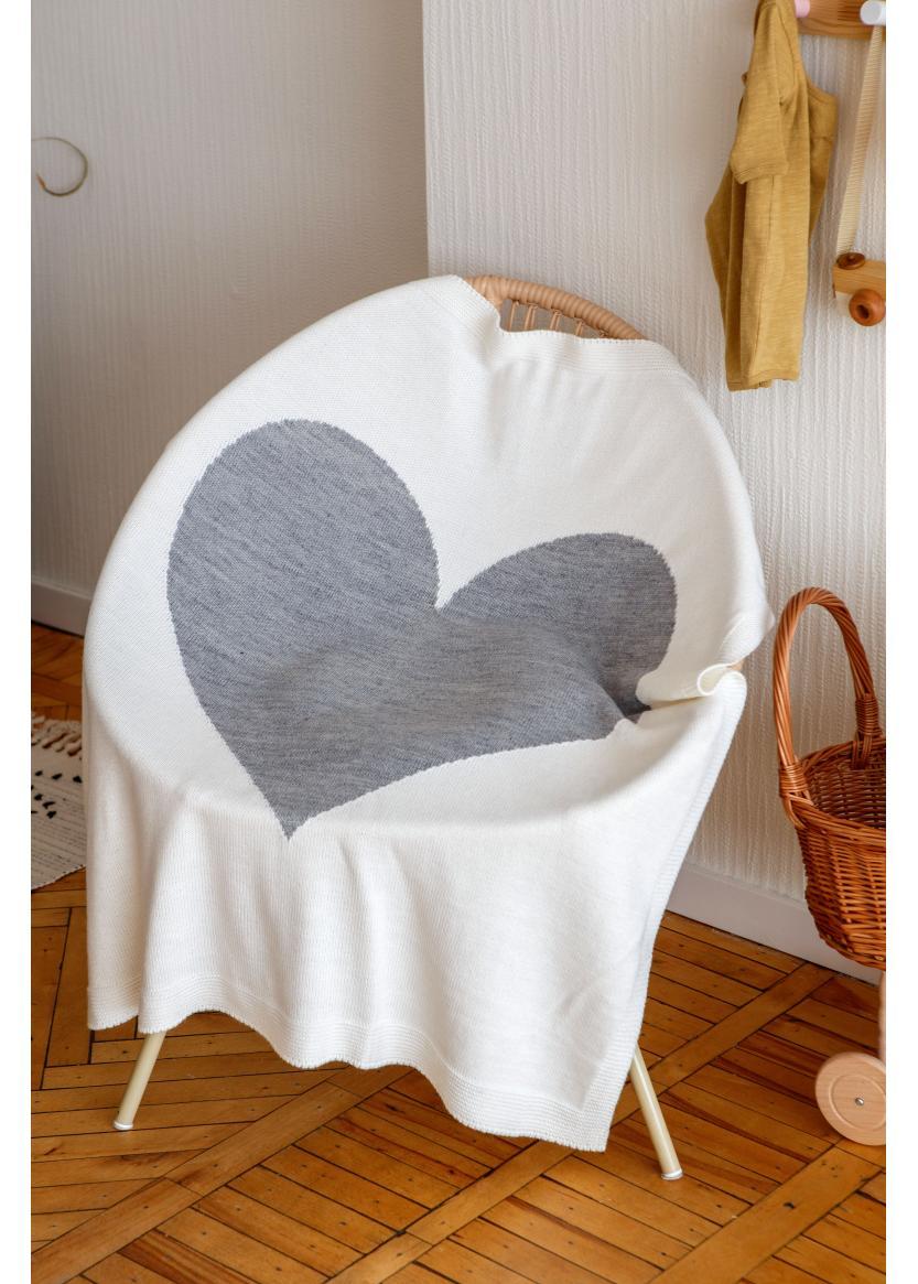 Плед Сердце, молочный/серый