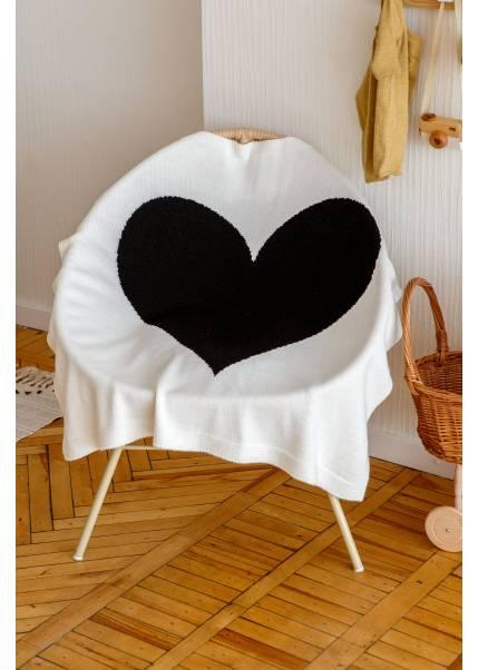 Плед Сердце, молочный/черный