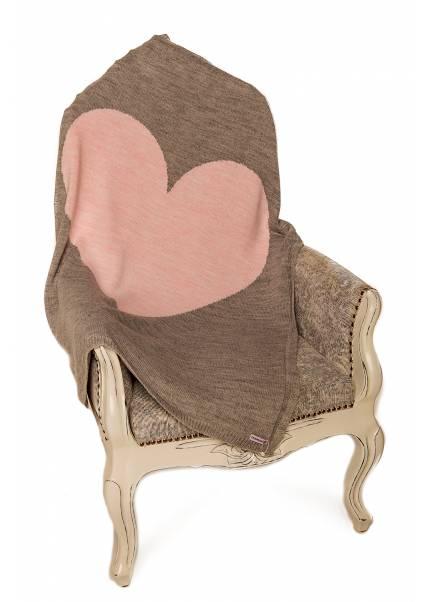 Плед Сердце, бежевый/розовый