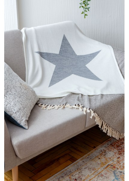 Плед Звезда, молоко/серый