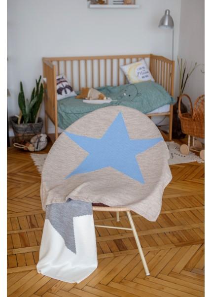Плед Звезда, серый/голубой