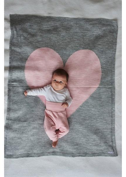 Плед Сердце, серый/розовый