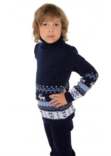 Свитер Олени детский, темно-синий