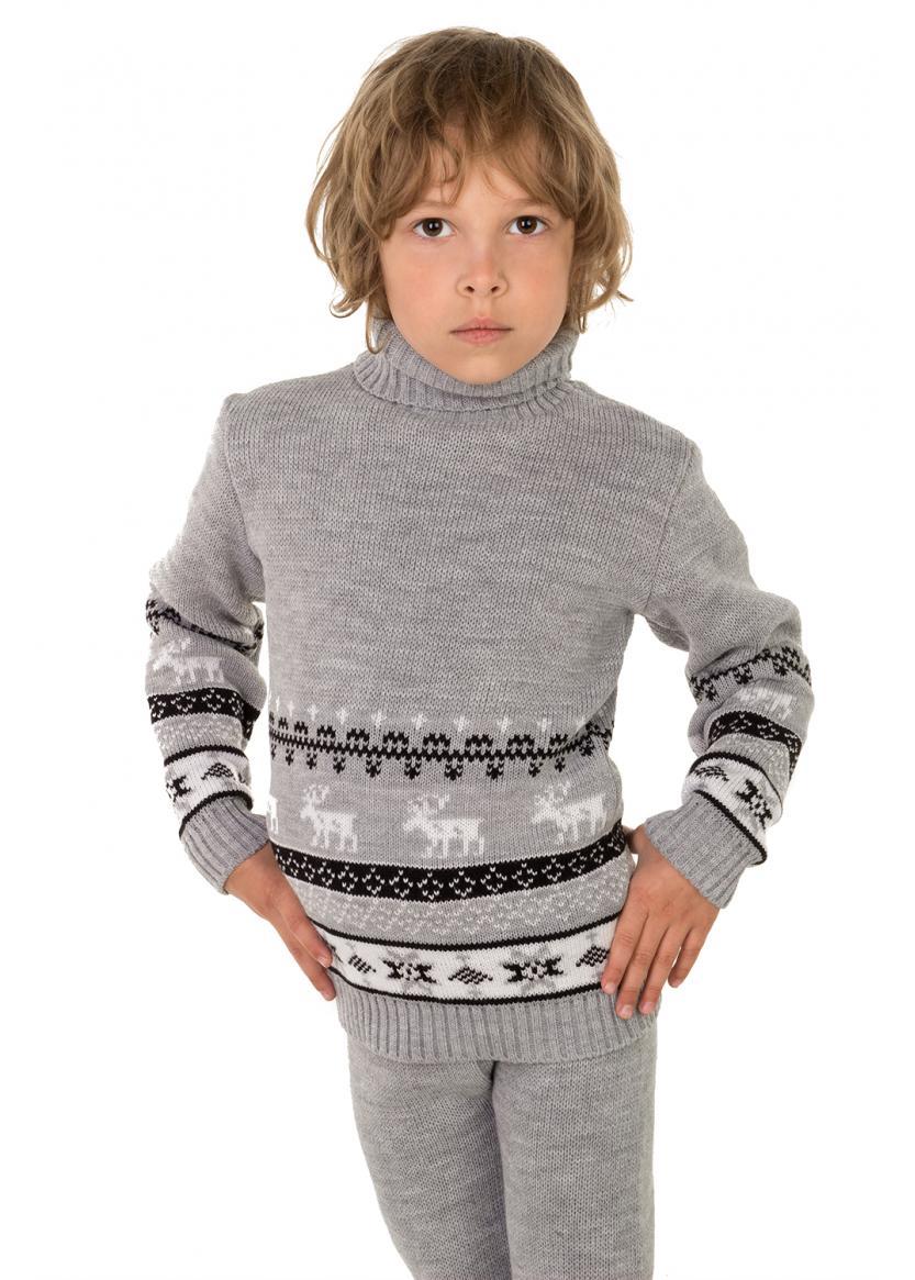 Свитер Олени детский, серый